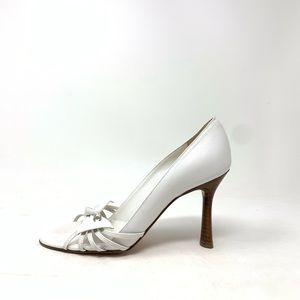 Chanel white open toe pumps size 38